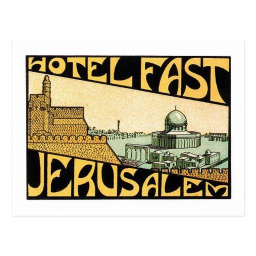 Vintage Travel Jerusalem Hotel Label Art Postcard