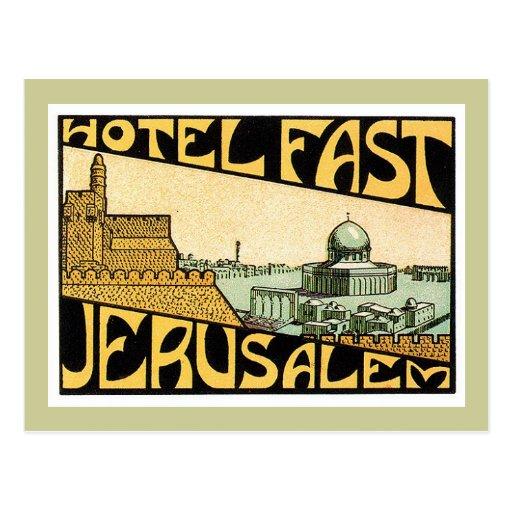 Vintage Travel Jerusalem Hotel Label Art Post Cards