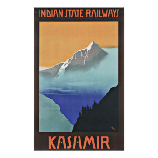 Vintage Travel Kashmir India Railways Poster
