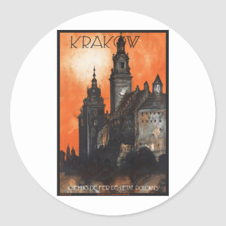 Vintage Travel Krakow Poland Railways Classic Round Sticker