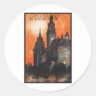 Vintage Travel Krakow Poland Railways Round Sticker
