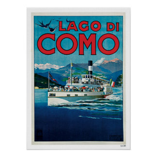 Vintage Travel Lake Como Italy Poster