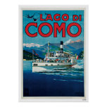 Vintage Travel Lake Como Italy Ship Poster