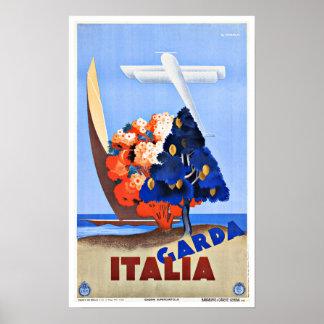 Vintage Travel Lake Garda Italy Poster