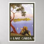 Vintage travel,Lake Garda Poster