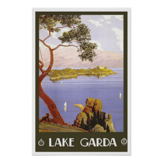 Vintage travel,Lake Garda Poster