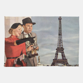 Vintage Travel - Lovers in Paris Tea Towel