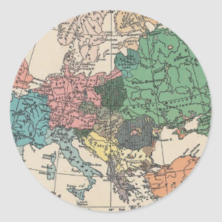 Vintage Travel Map Classic Round Sticker