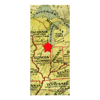 Vintage Travel Map Movable Red Star Invitation