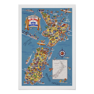 Vintage Travel Map of New Zealand Poster