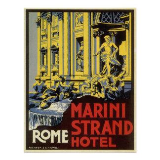 Vintage Travel Marini Strand Hotel Rome Italy Invite