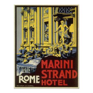 Vintage Travel, Marini Strand Hotel, Rome, Italy 4.25x5.5 Paper Invitation Card