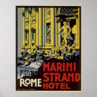 Vintage Travel, Marini Strand Hotel, Rome, Italy Print