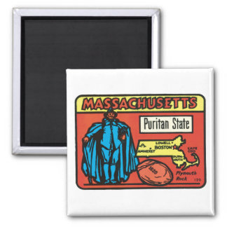 Vintage Travel Massachusetts MA State Label Art Square Magnet