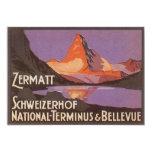 Vintage Travel, Matterhorn Mountain in Switzerland 5x7 Paper Invitation Card