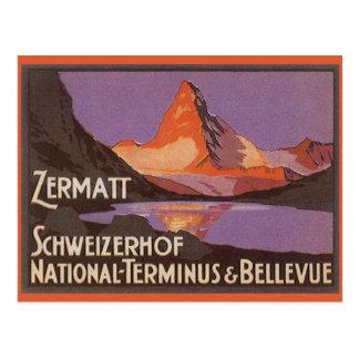 Vintage Travel, Matterhorn Mountain in Switzerland Postcard