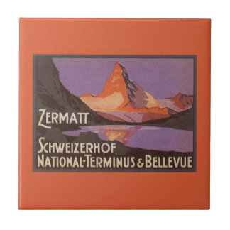 Vintage Travel, Matterhorn Mountain in Switzerland Small Square Tile