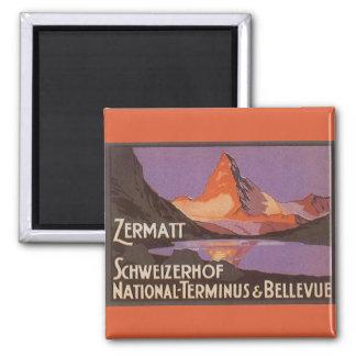 Vintage Travel, Matterhorn Mountain in Switzerland Square Magnet