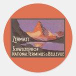 Vintage Travel, Matterhorn Mountain in Switzerland Classic Round Sticker