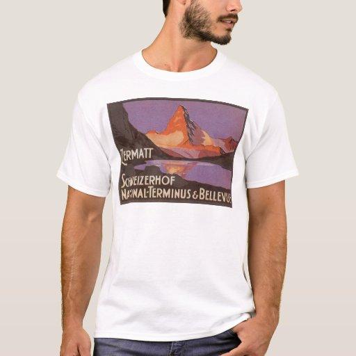 Vintage Travel, Matterhorn Mountain in Switzerland T-Shirt