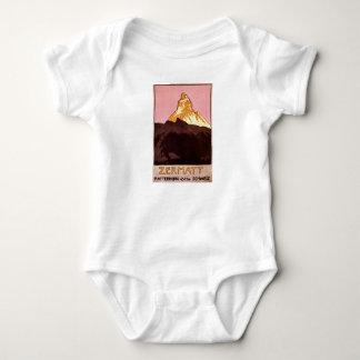 Vintage Travel, Matterhorn Mountain, Switzerland Baby Bodysuit