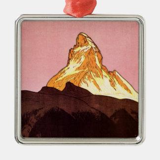 Vintage Travel, Matterhorn Mountain, Switzerland Christmas Ornament