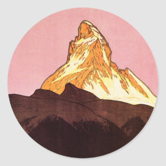 Vintage Travel, Matterhorn Mountain, Switzerland Classic Round Sticker