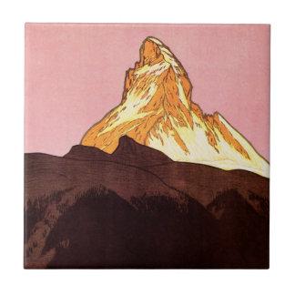 Vintage Travel, Matterhorn Mountain, Switzerland Small Square Tile