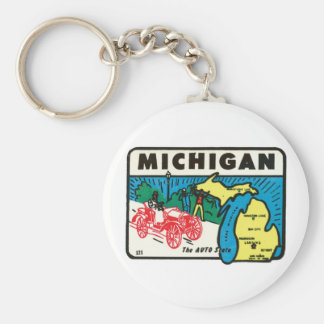 Vintage Travel Michigan MI Auto State Label Basic Round Button Key Ring