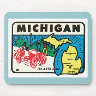 Vintage Travel Michigan MI Auto State Label Mouse Mat