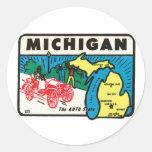 Vintage Travel Michigan MI Auto State Label Round Stickers