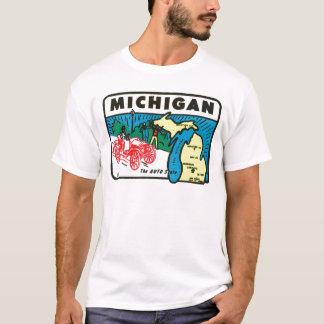 Vintage Travel Michigan MI Auto State Label T-Shirt