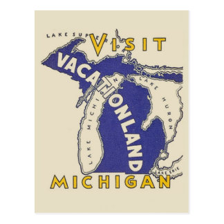 Vintage Travel - Michigan Vacationland Postcard