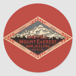 Vintage Travel, Mount Everest, Darjeeling India Classic Round Sticker