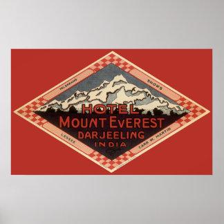 Vintage Travel, Mount Everest, Darjeeling India Poster