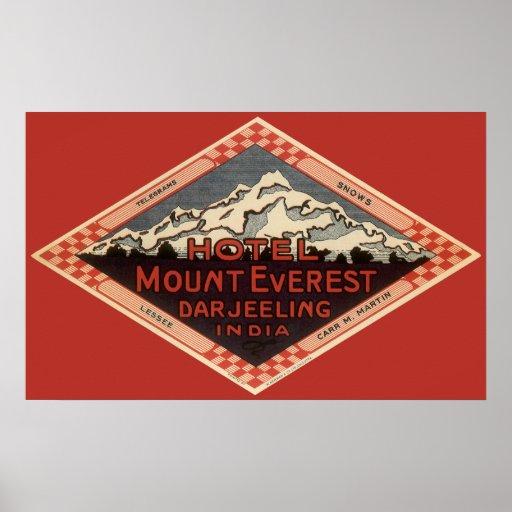 Vintage Travel, Mount Everest, Darjeeling India Posters