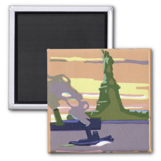 Vintage Travel, New York City, Statue of Liberty Square Magnet