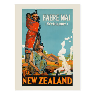 Vintage Travel New Zealand Haere Mai Welcome Maori Postcard