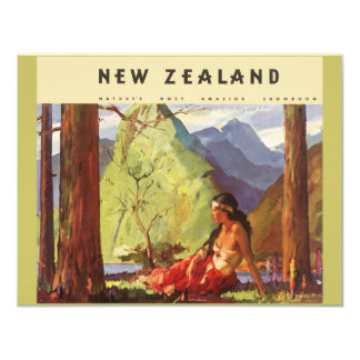Vintage Travel, New Zealand Landscape Native Woman 11 Cm X 14 Cm Invitation Card
