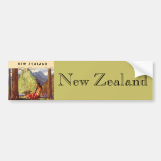 Vintage Travel, New Zealand Landscape Native Woman Bumper Sticker