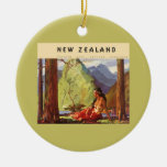 Vintage Travel, New Zealand Landscape Native Woman Christmas Tree Ornament