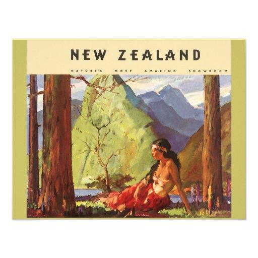 Vintage Travel, New Zealand Landscape Native Woman Personalized Invitation