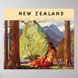 Vintage Travel, New Zealand Landscape Native Woman Poster