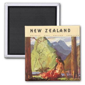 Vintage Travel, New Zealand Landscape Native Woman Square Magnet