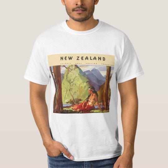 Vintage Travel, New Zealand Landscape Native Woman T-Shirt