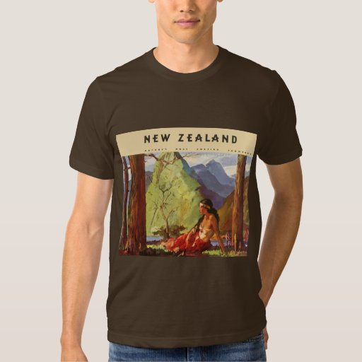 Vintage Travel, New Zealand Landscape Native Woman Tee Shirts