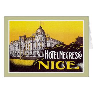 Vintage Travel Nice France Hotel Label Art Greeting Card