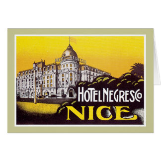 Vintage Travel Nice France Hotel Label Art Greeting Card