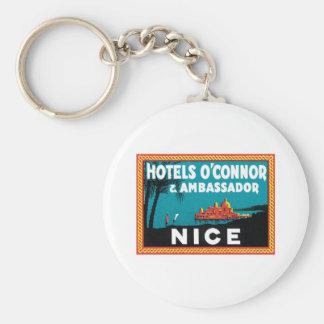 Vintage Travel Nice France Hotel Label Art Keychain