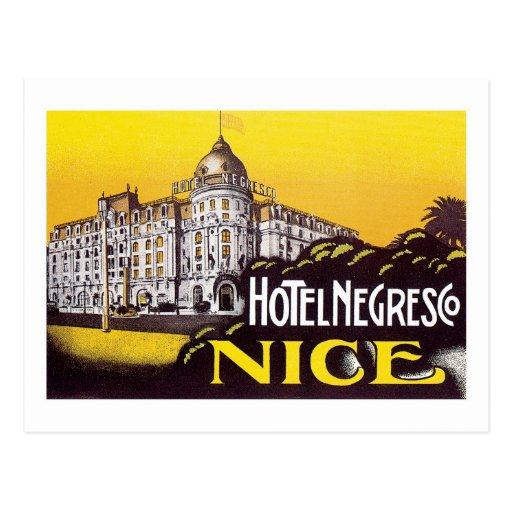 Vintage Travel Nice France Hotel Label Art Postcard
